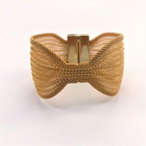 (Bracciale Maglia Fiocco) rame e ottone placcata oro giallo (192)