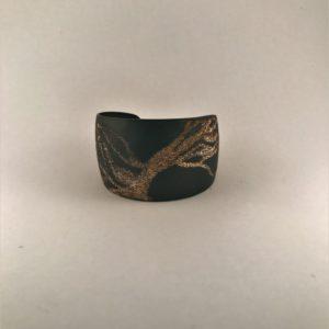 (Bracciali Bassi lavorazione polvere di diamanti) ottone placcato nero notte lavorato (168)