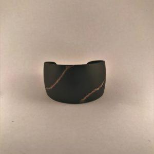 (Bracciali Bassi lavorazione polvere di diamanti) ottone placcato nero notte lavorato (168).