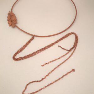 (Collana Cerchio con fregi) ottone e rame placcata oro rosa (264)