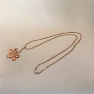 (Collana Lunga Pietra) 0ttone e rame placcata oro con perla (156)