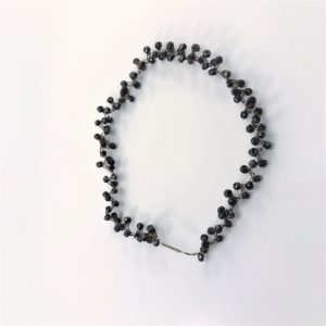 (Collier giro collo elastico) acciaio con spinelle noir (192)