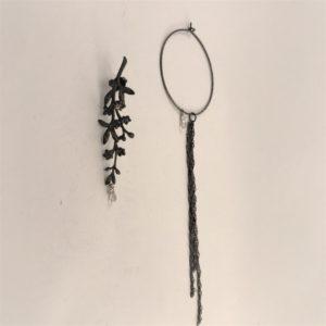 (Orecchini Cerchio Pietra) ottone e rame placcato rutenio con zaffiro (192)