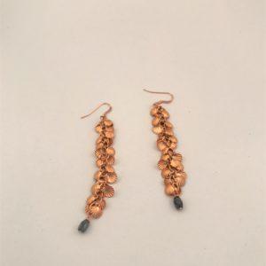 (Orecchini Grappolo) ottone placcato oro rosa con zaffiri (87)