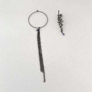(Orecchini Pendenti Cerchio Pietra) ottone placcato rutenio con zaffiro (192)